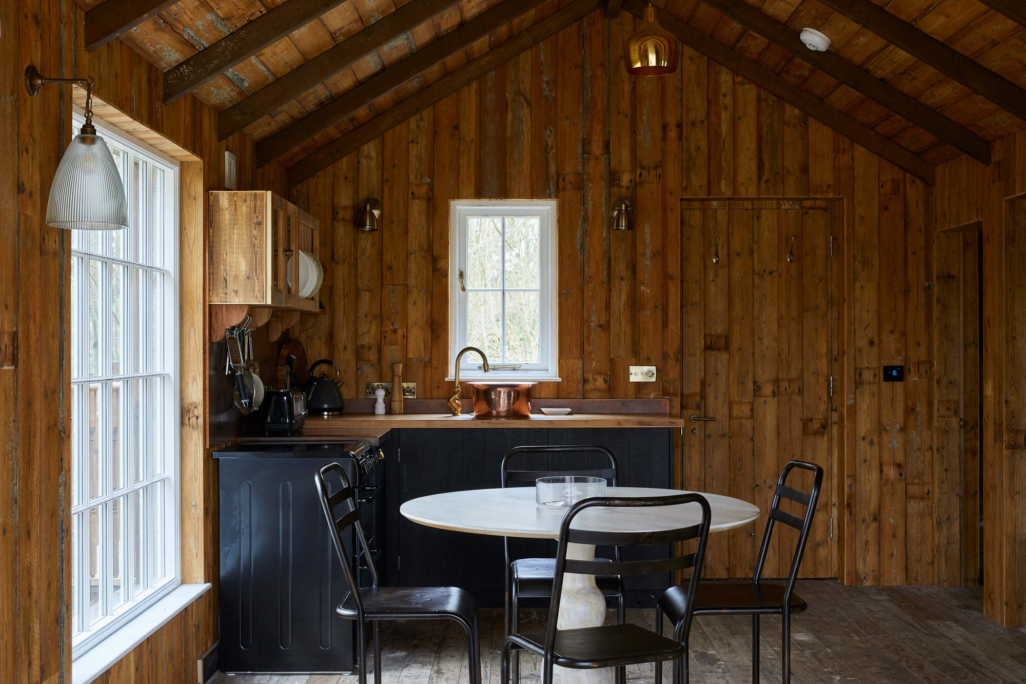 Brushed pine kitchen cladding
