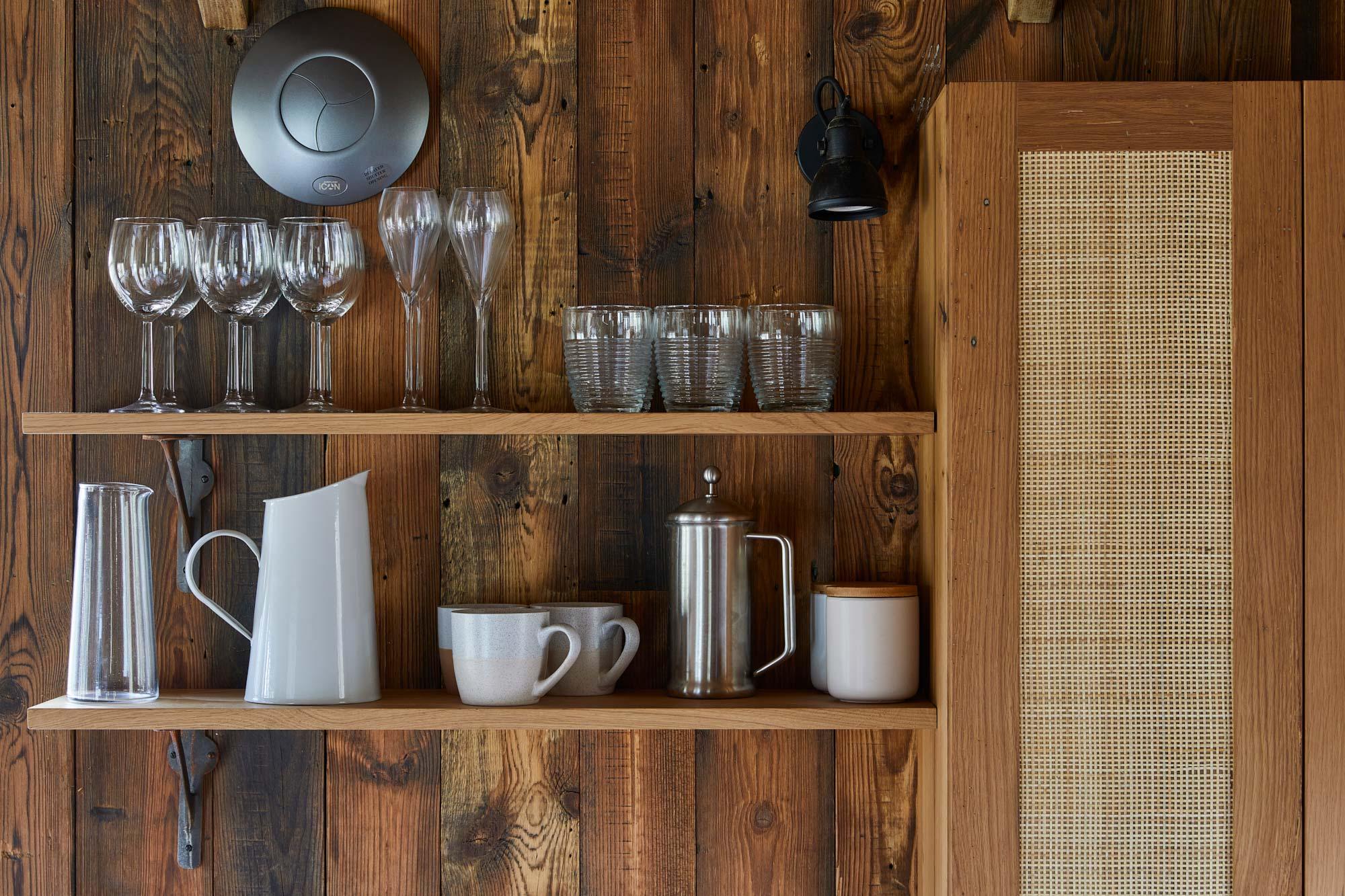 Rustic oak shelves