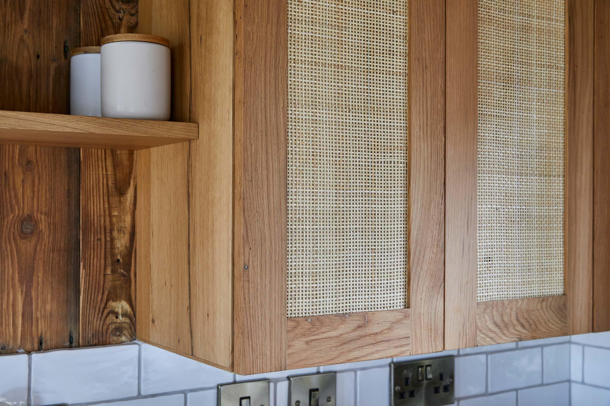 Rattan kitchen door panel