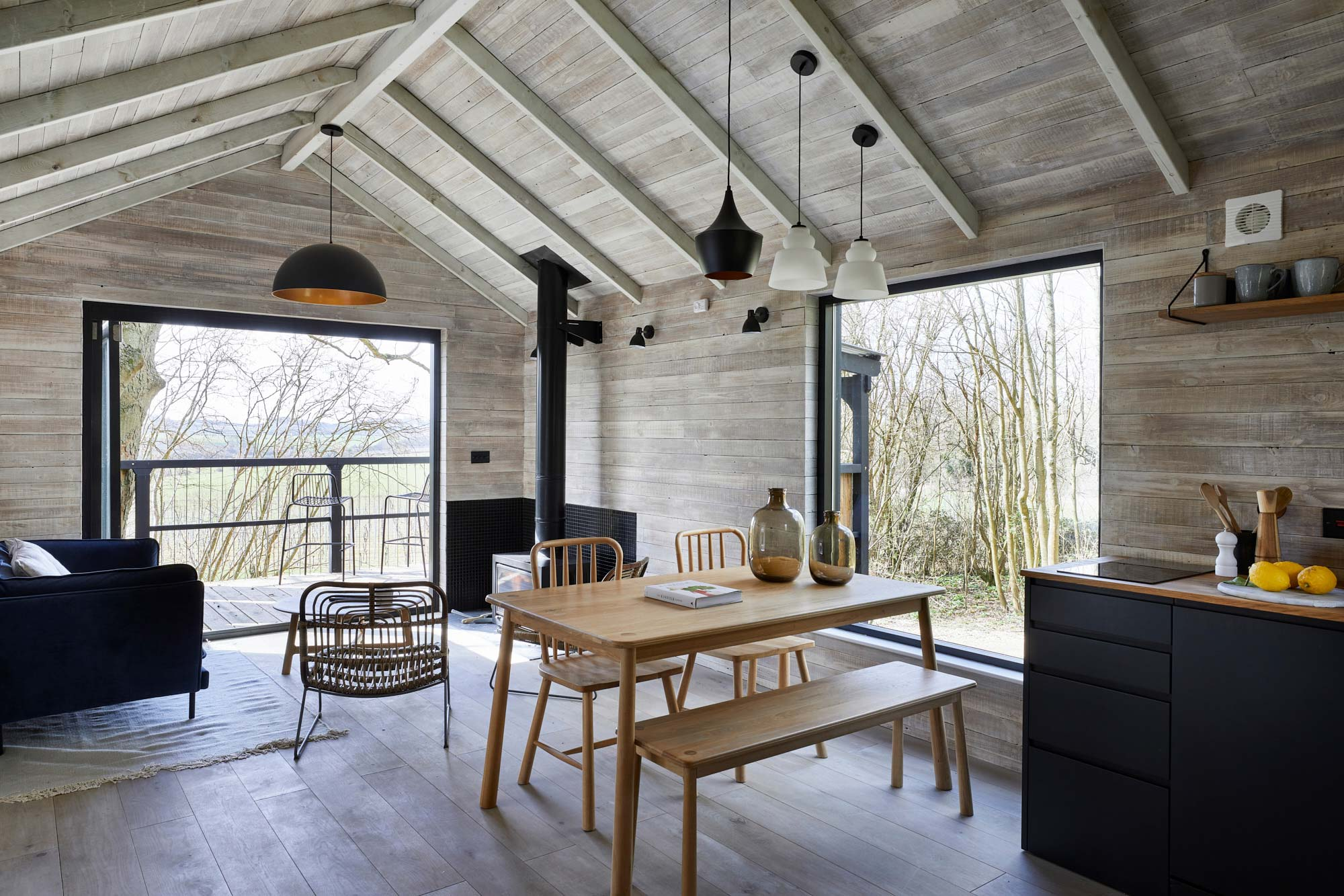 Treehouse with reclaimed cladding