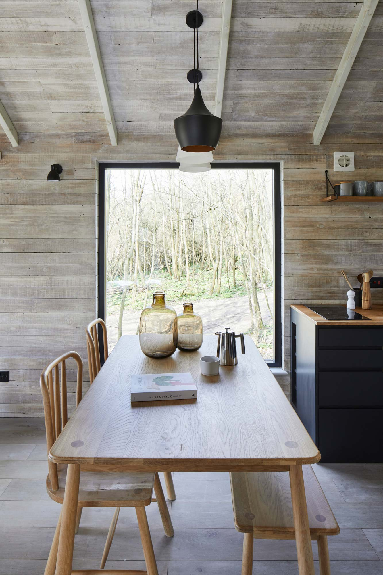 Dining table in rustic treehouse