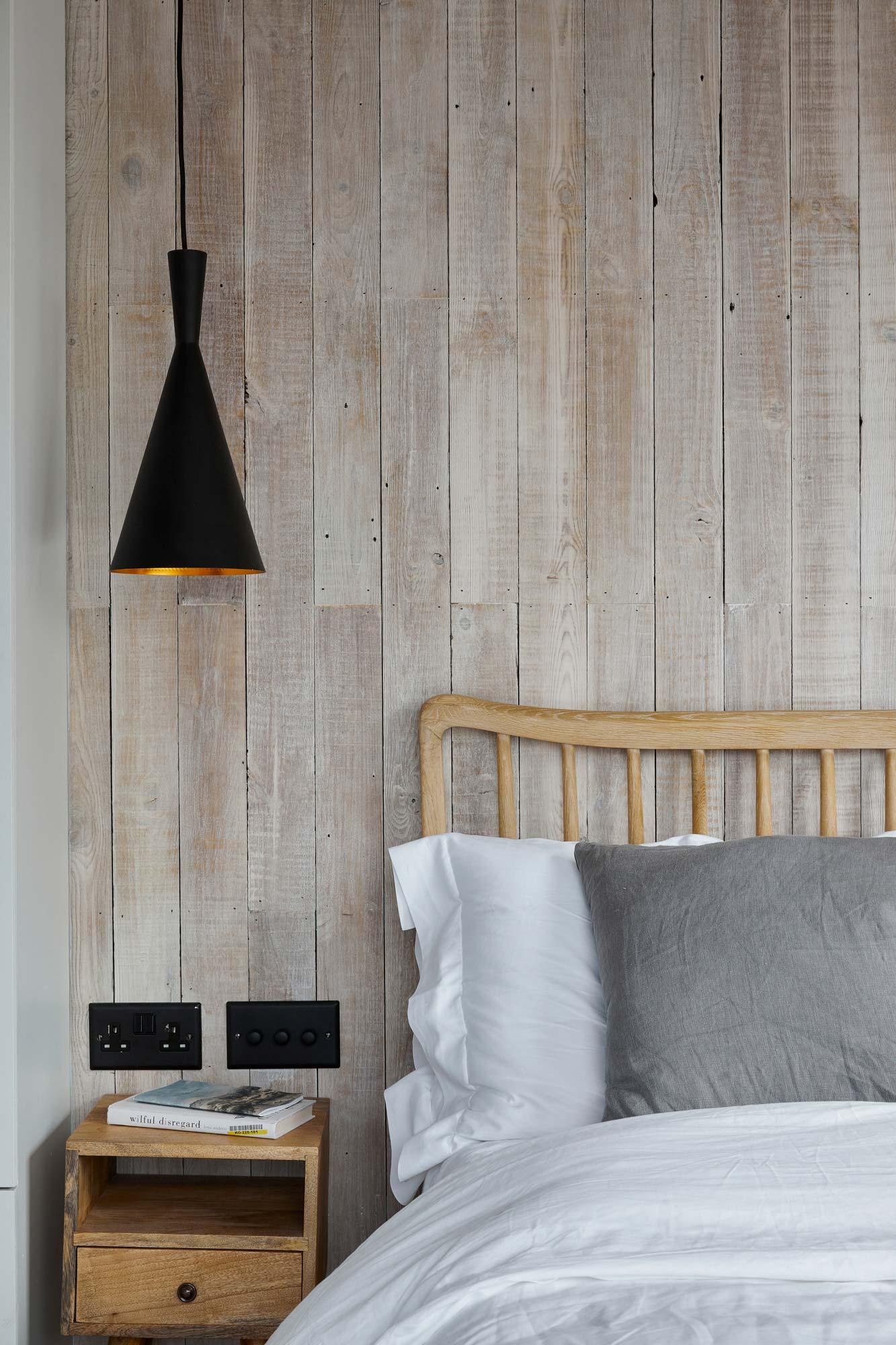 Rustic wood bed headboard