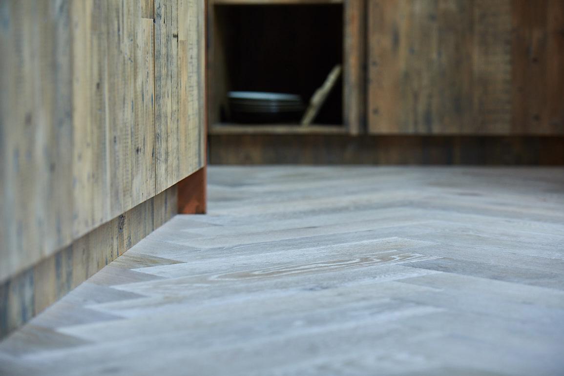 Clean oak parquet flooring