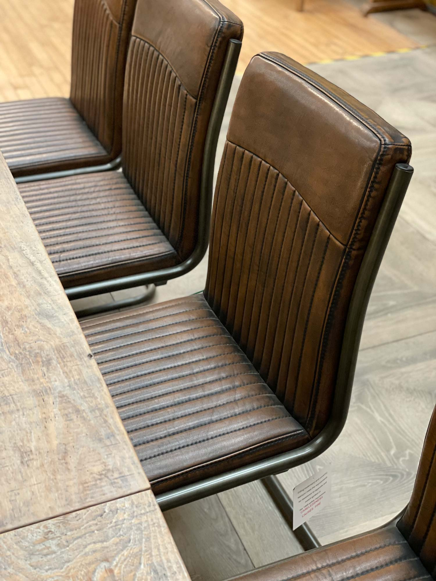 dining chairs brown faux leather