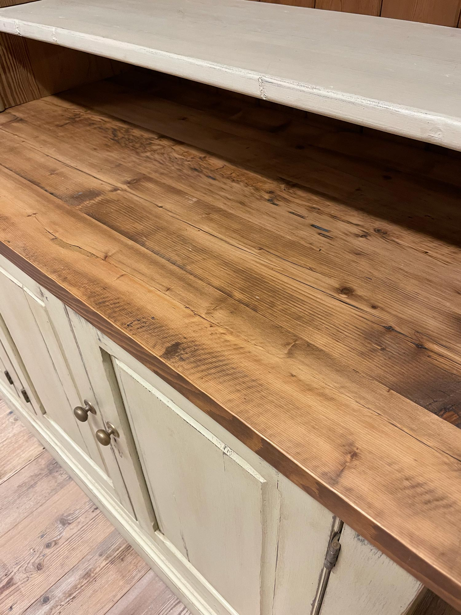 Reclaimed pine library bookcase worktop