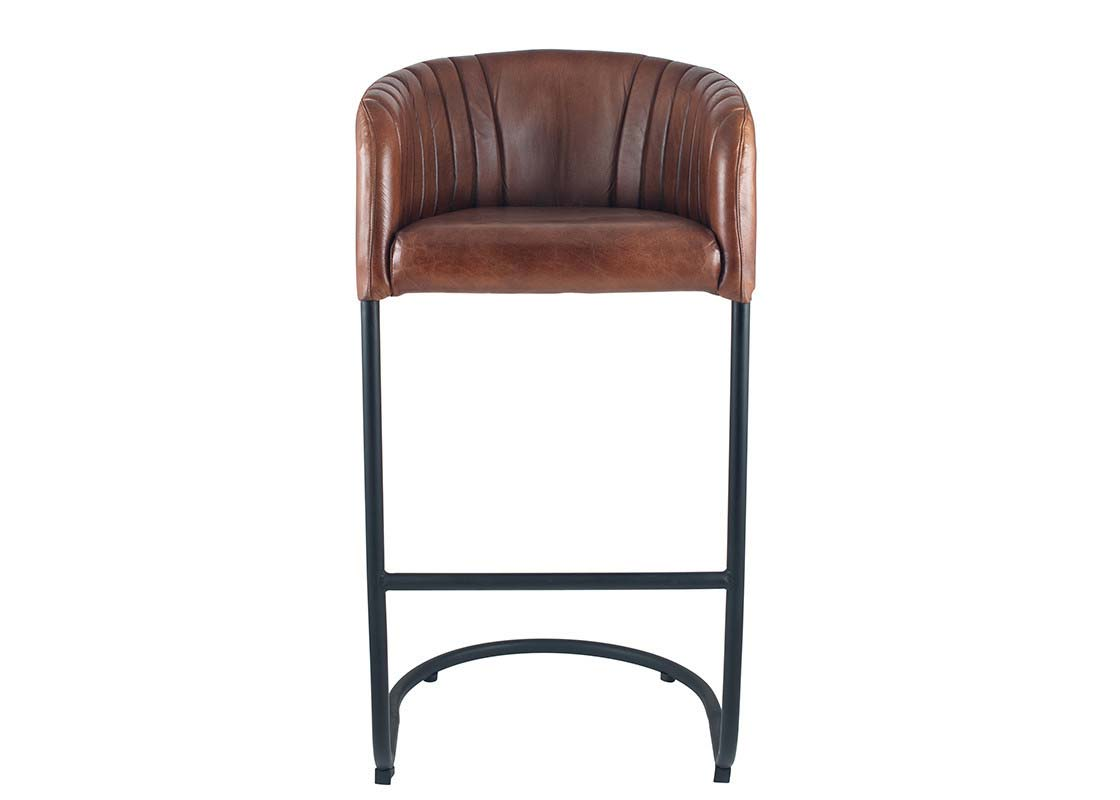 Brown leather barstool