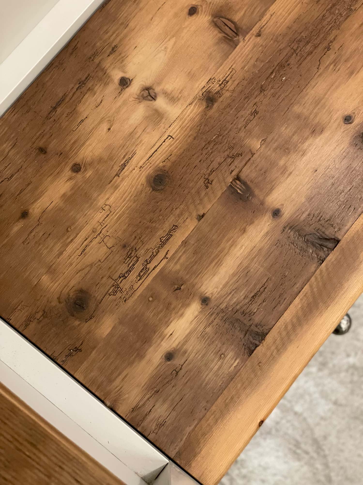 Reclaimed pine worktop