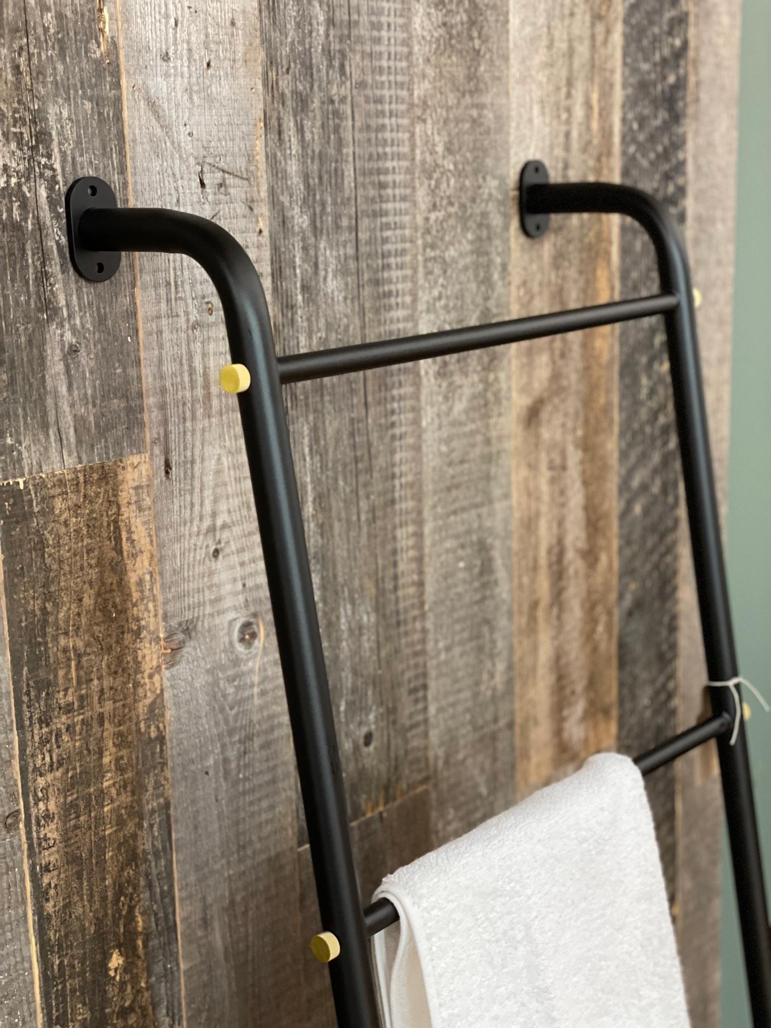 Matt black towel rail