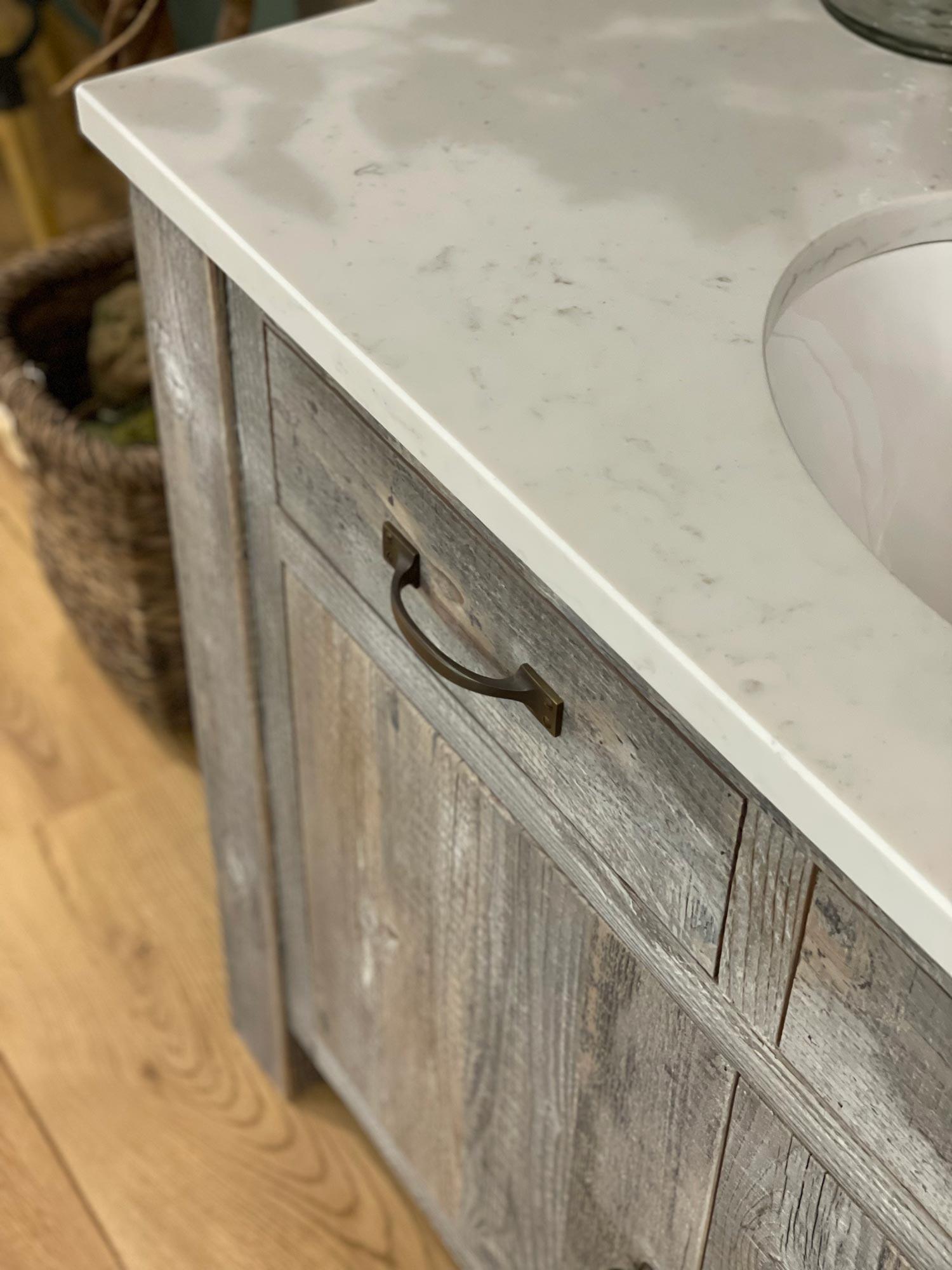 Pull handles on rustic vanity unit