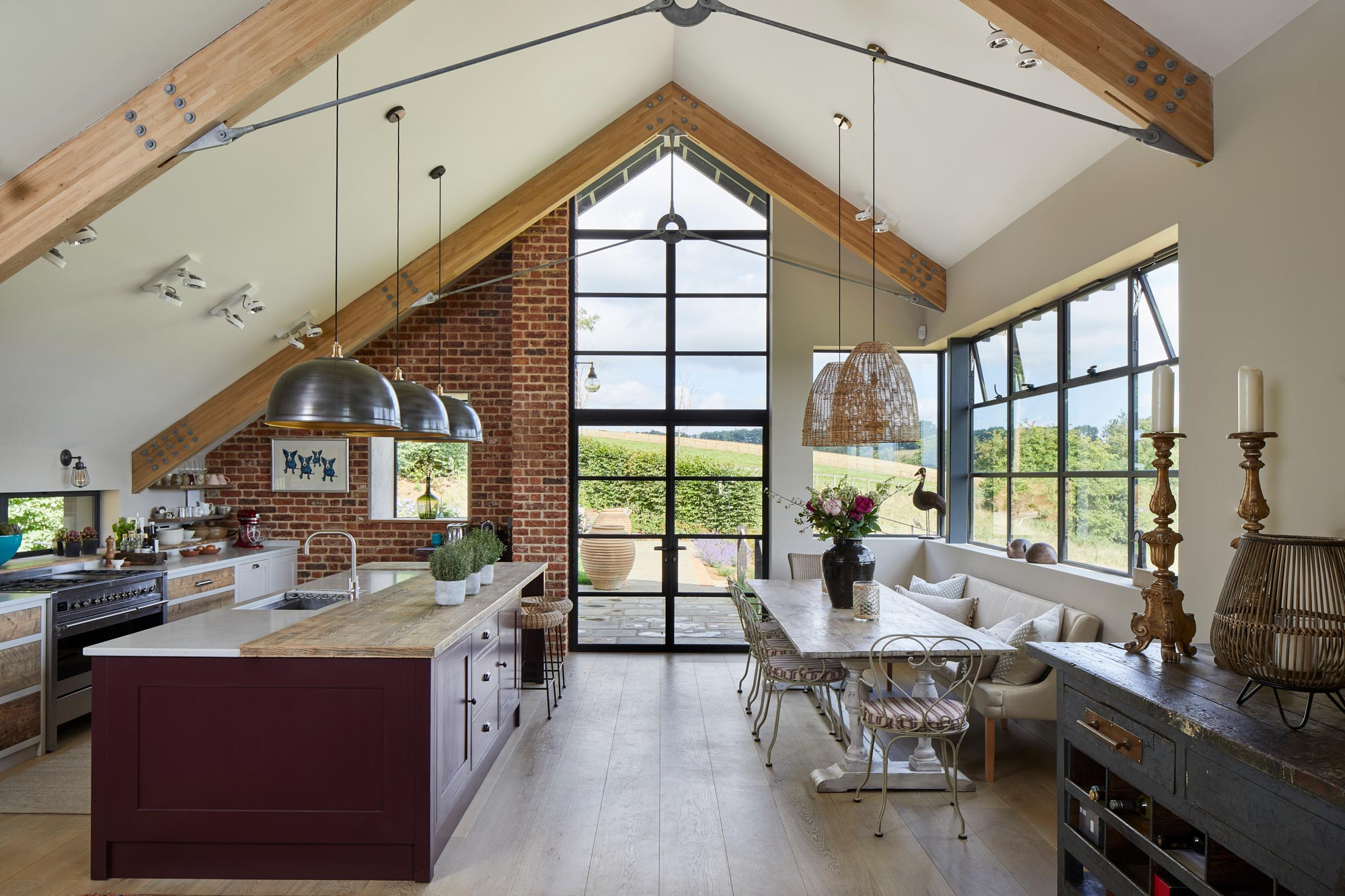 Large kitchen diner with vaulted ceiling
