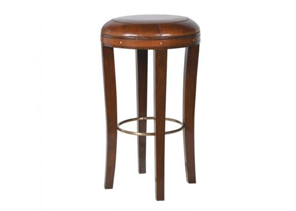 Leather round bar stool