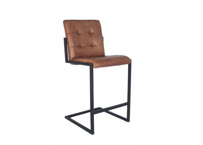 Rectangular Brown Leather Barstool