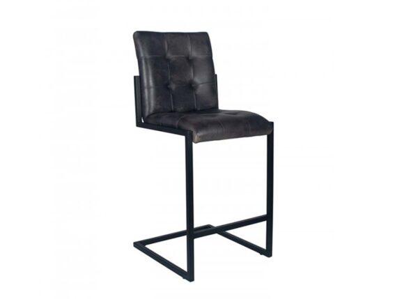 Rectangular Grey Leather Barstool