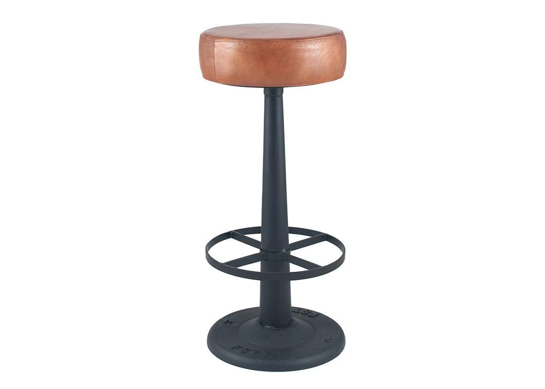 brown round barstool