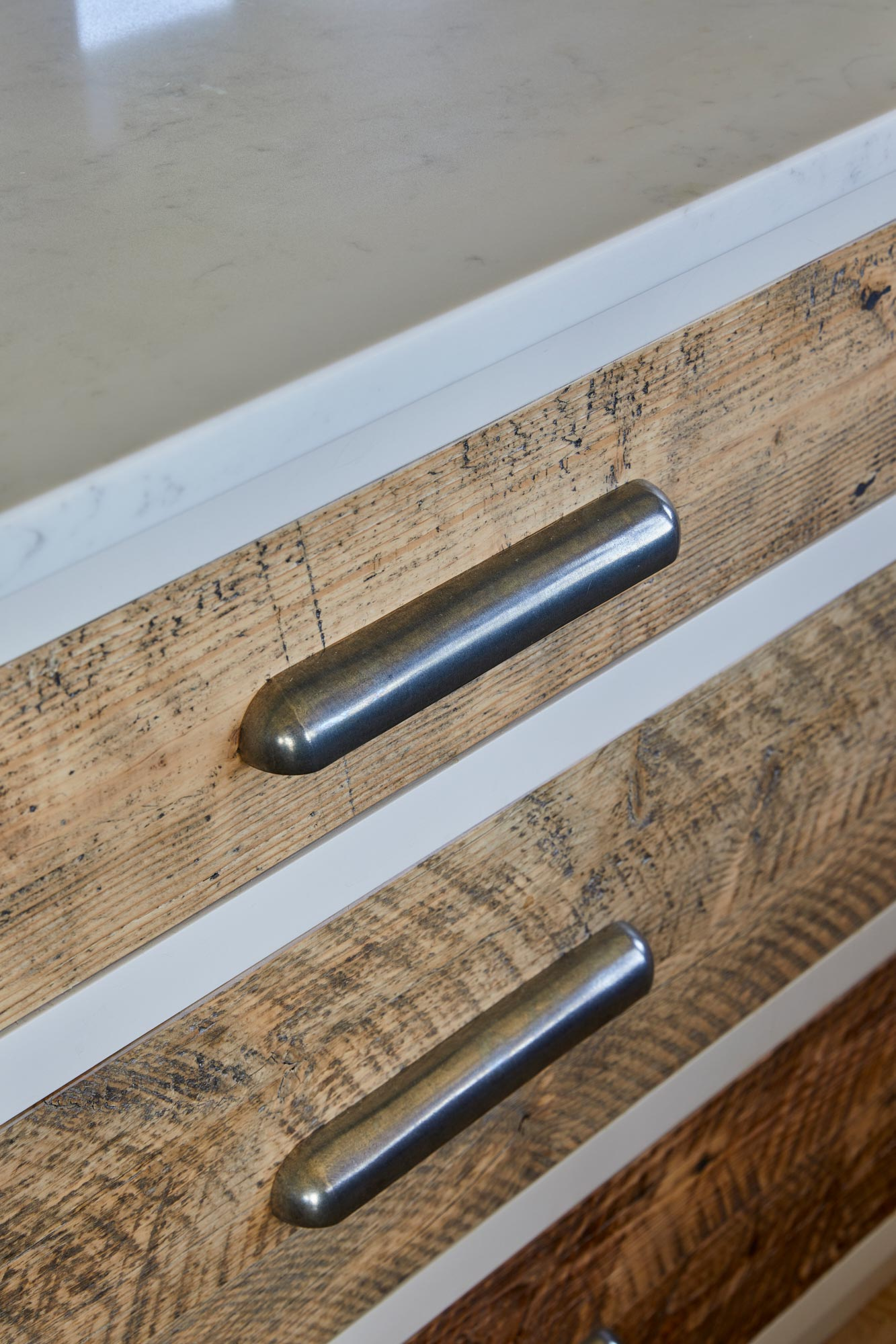 Reclaimed spruce drawer fronts
