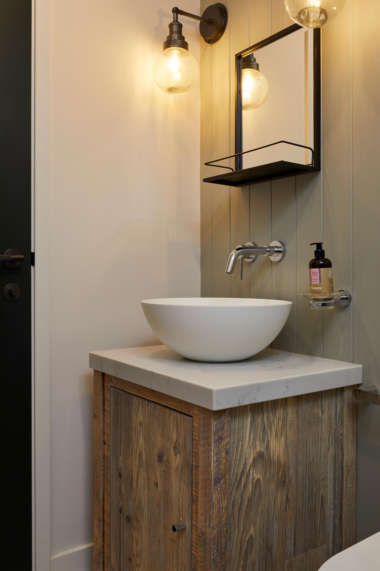 reclaimed vanity unit with single bowl