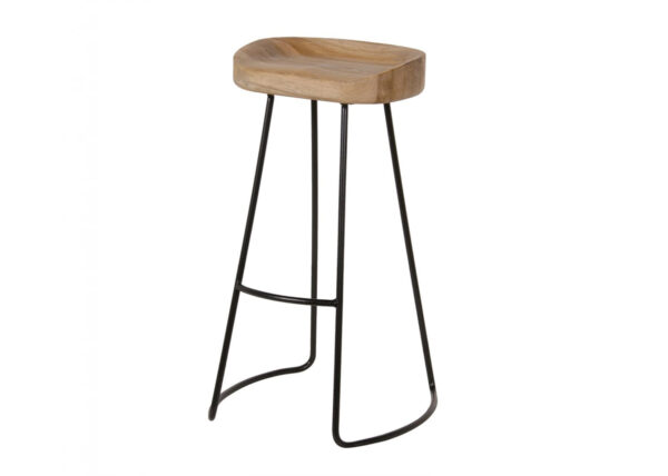 Weathered Oak and Metal Stool