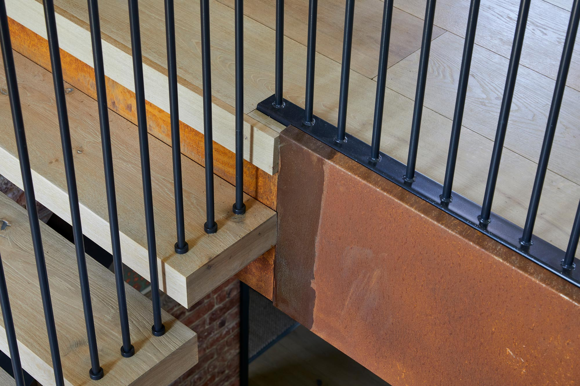 Oak stair treads with black rails