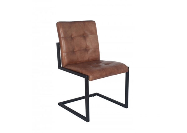 Buttoned brown dining chair