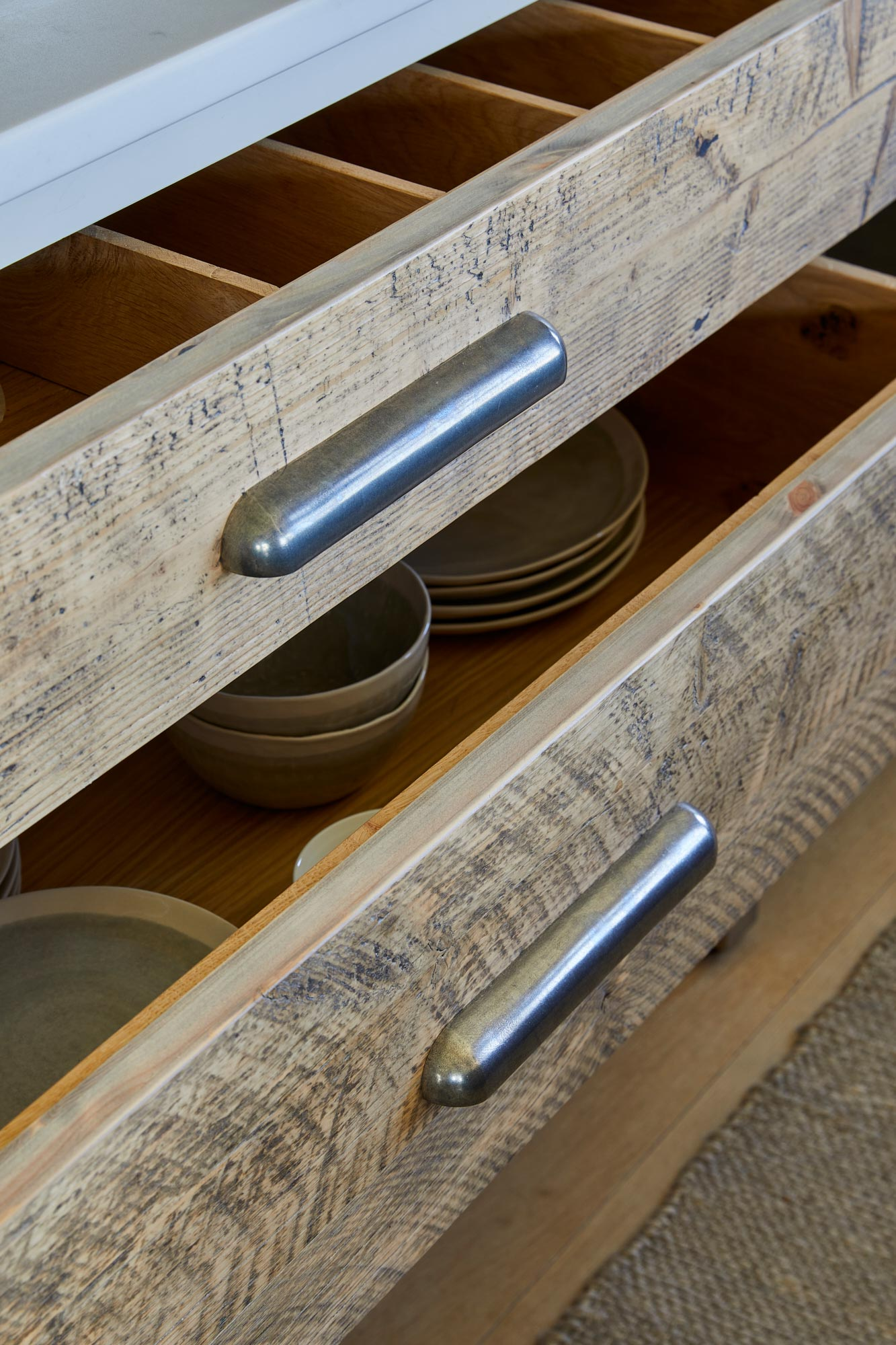 Reclaimed spruce pan drawers