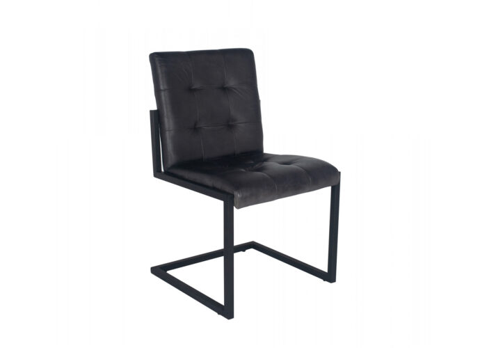 Buttoned grey dining chair