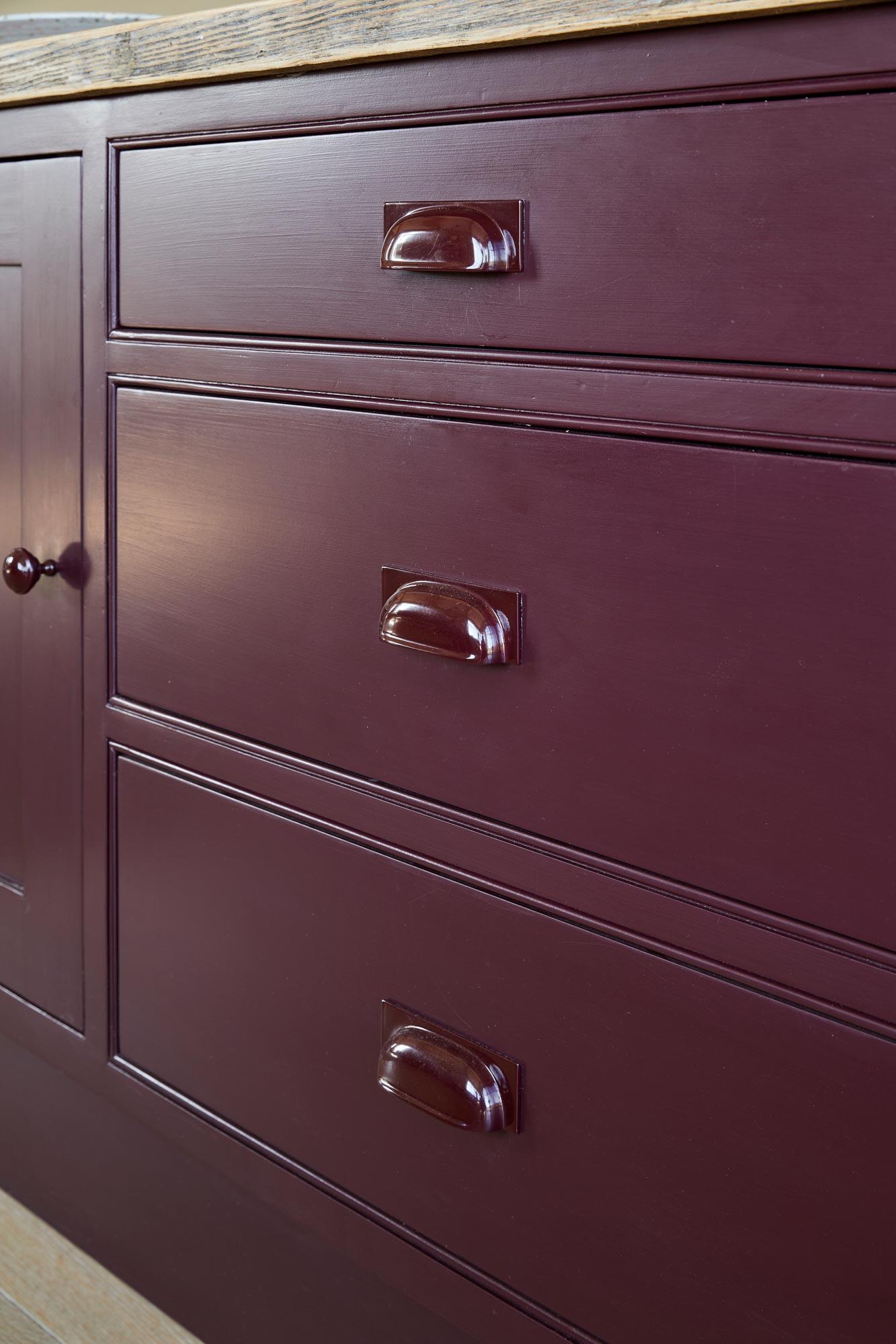 Powder coated handles on kitchen units