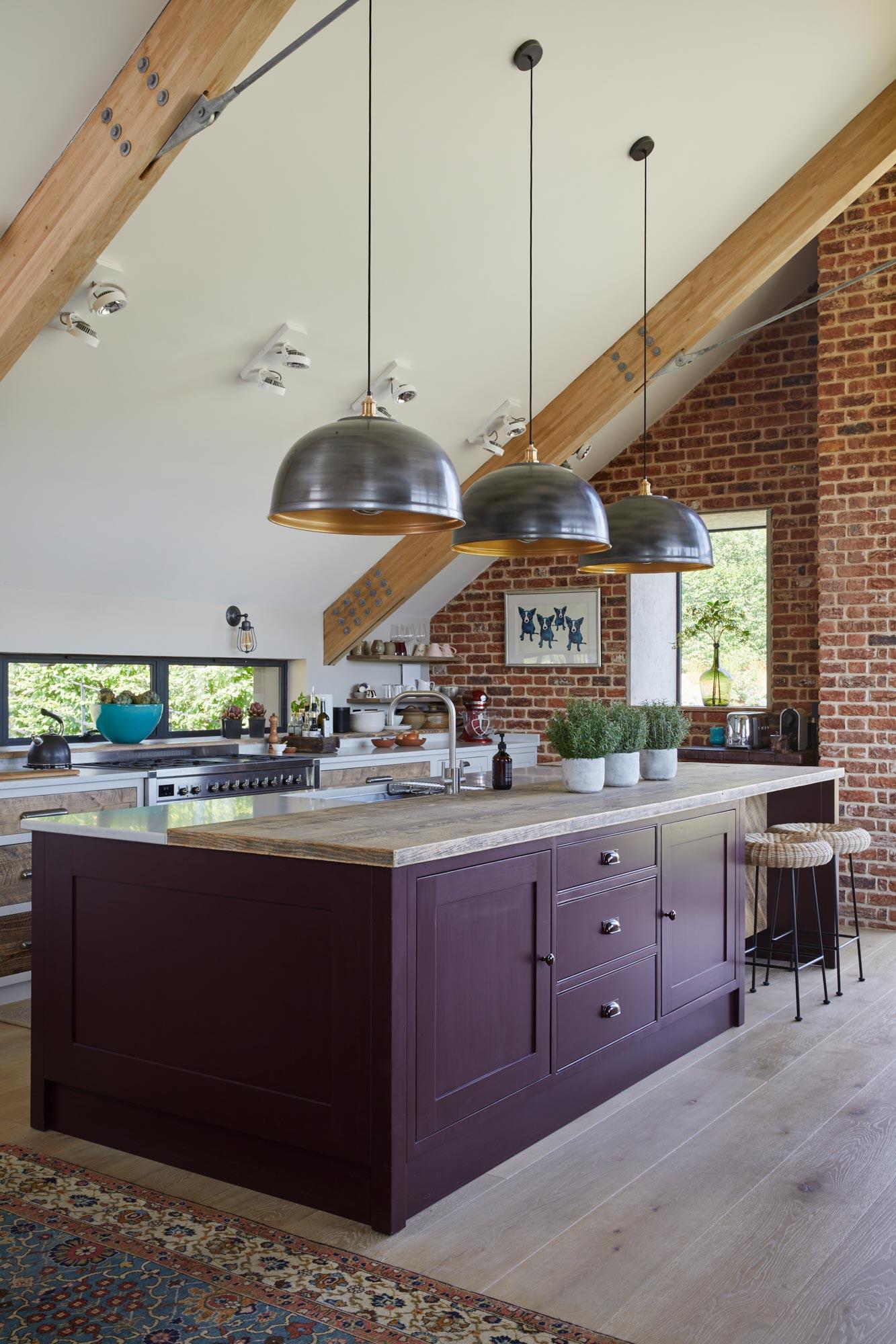 Deep purple painted kitchen
