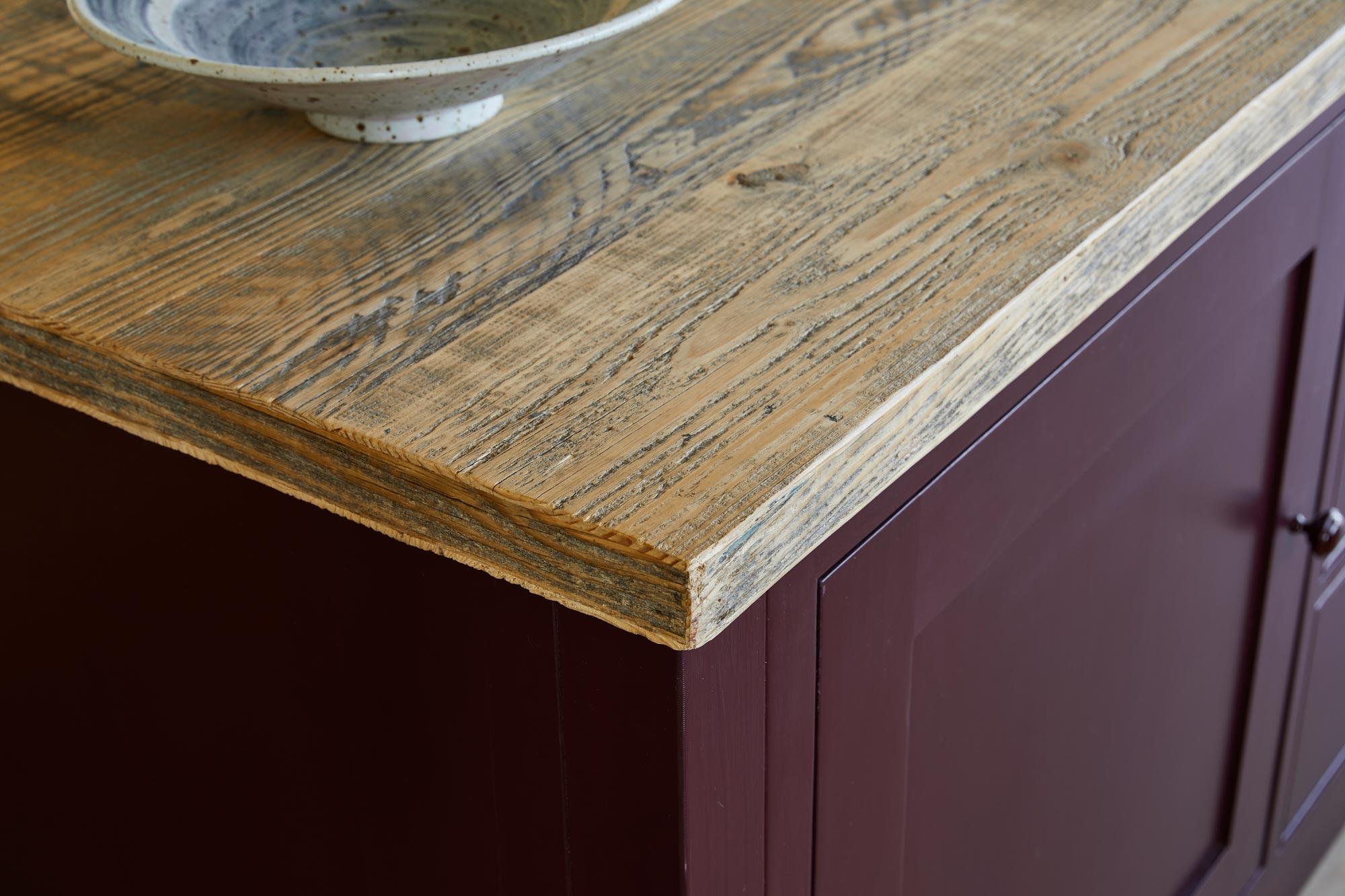 Reclaimed engineered spruce wood kitchen worktop