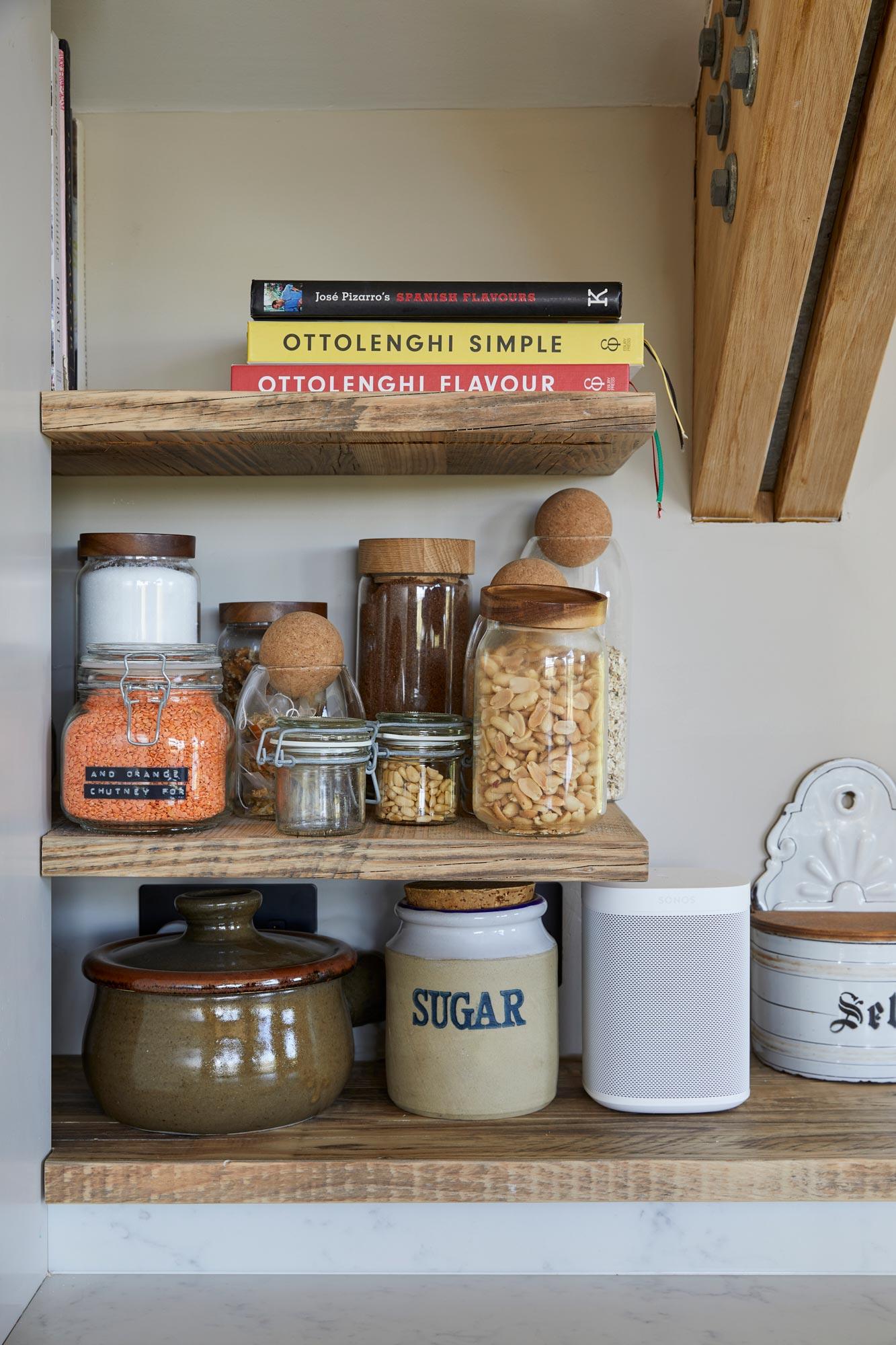 Floating reclaimed shelves