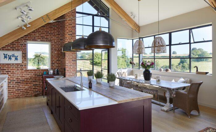 Large open plan kitchen with bespoke island