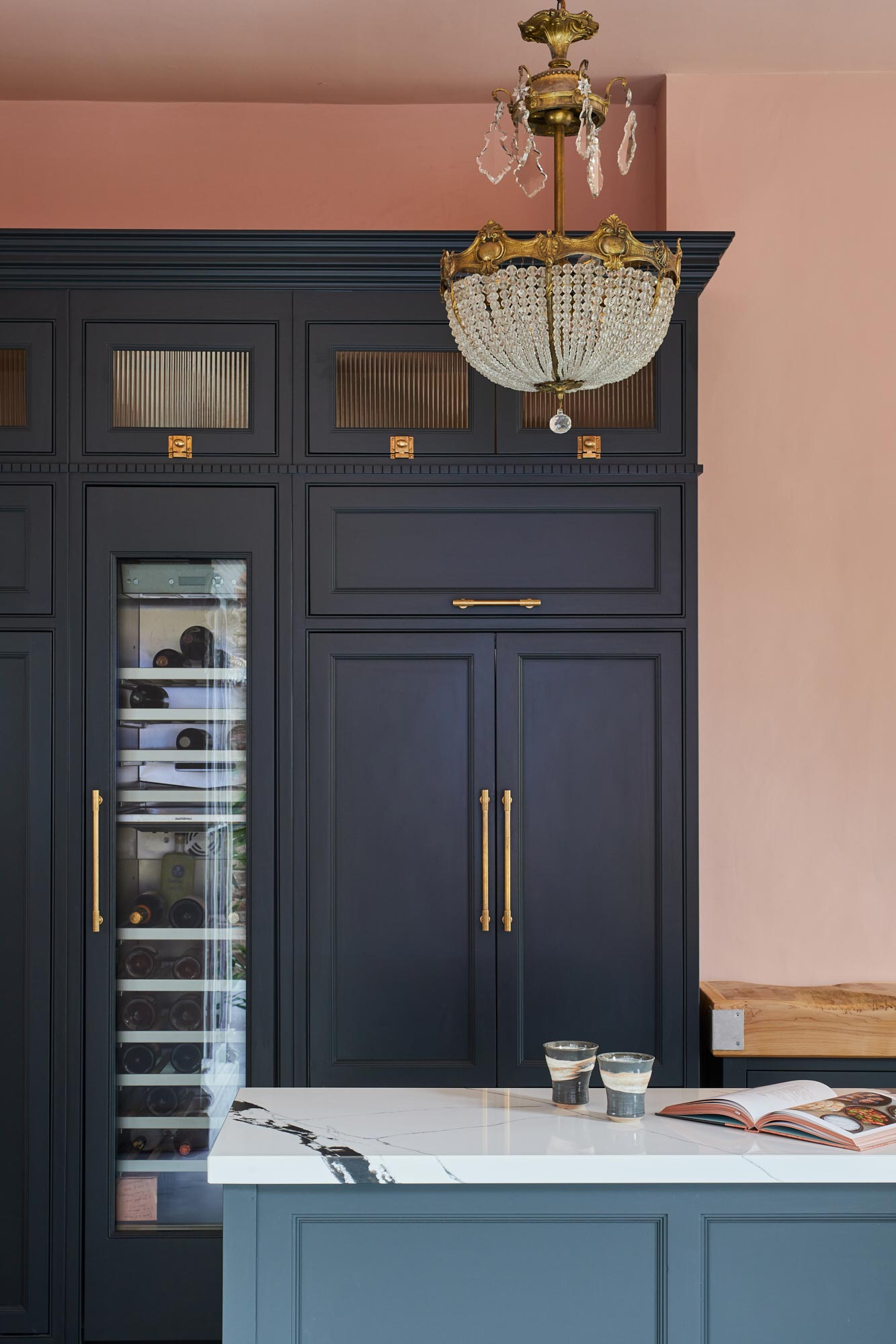 Tall integrated painted shaker blue kitchen cabinets