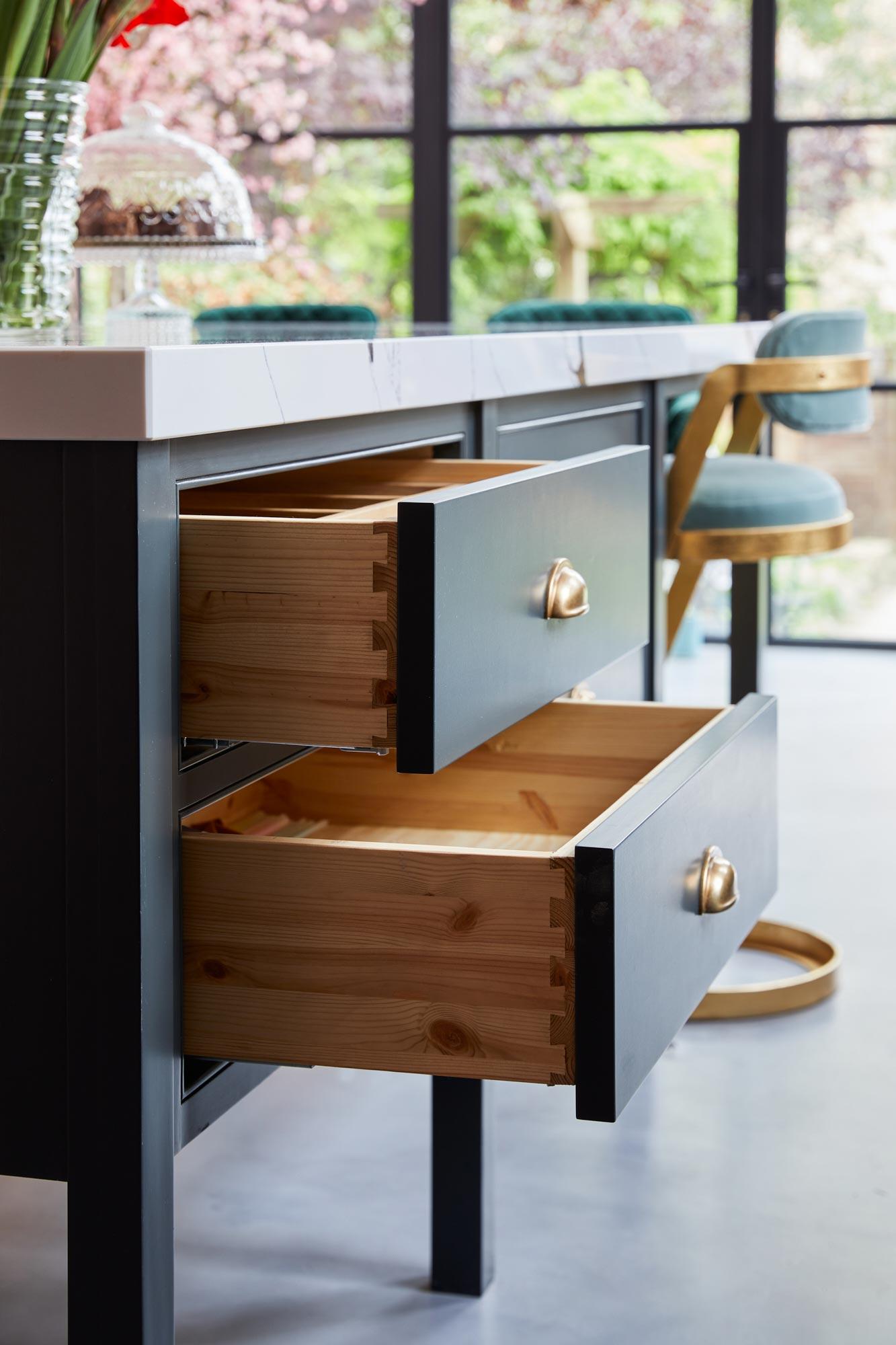 Large kitchen island pan drawers
