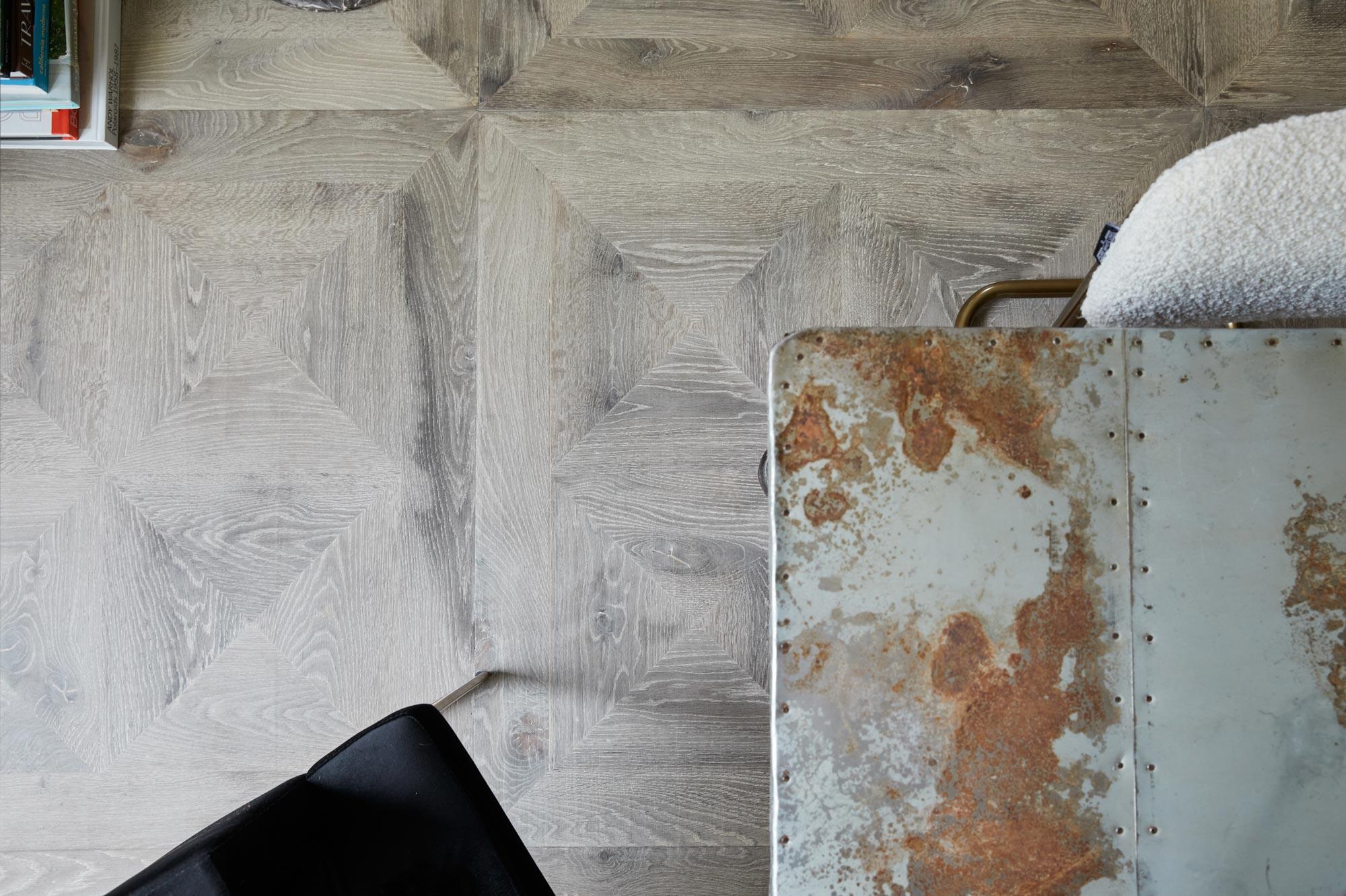 Reclaimed grey oak floor boards