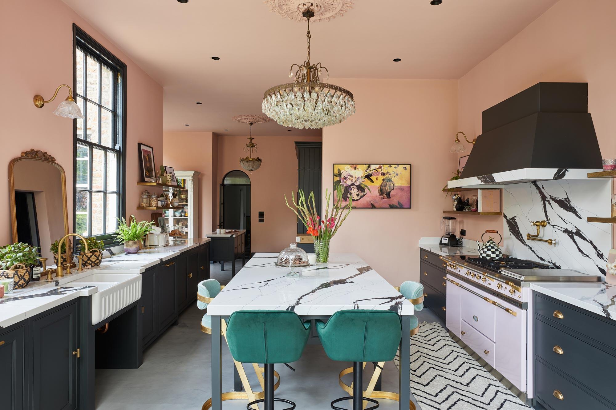 Shaker blue and pink kitchen design