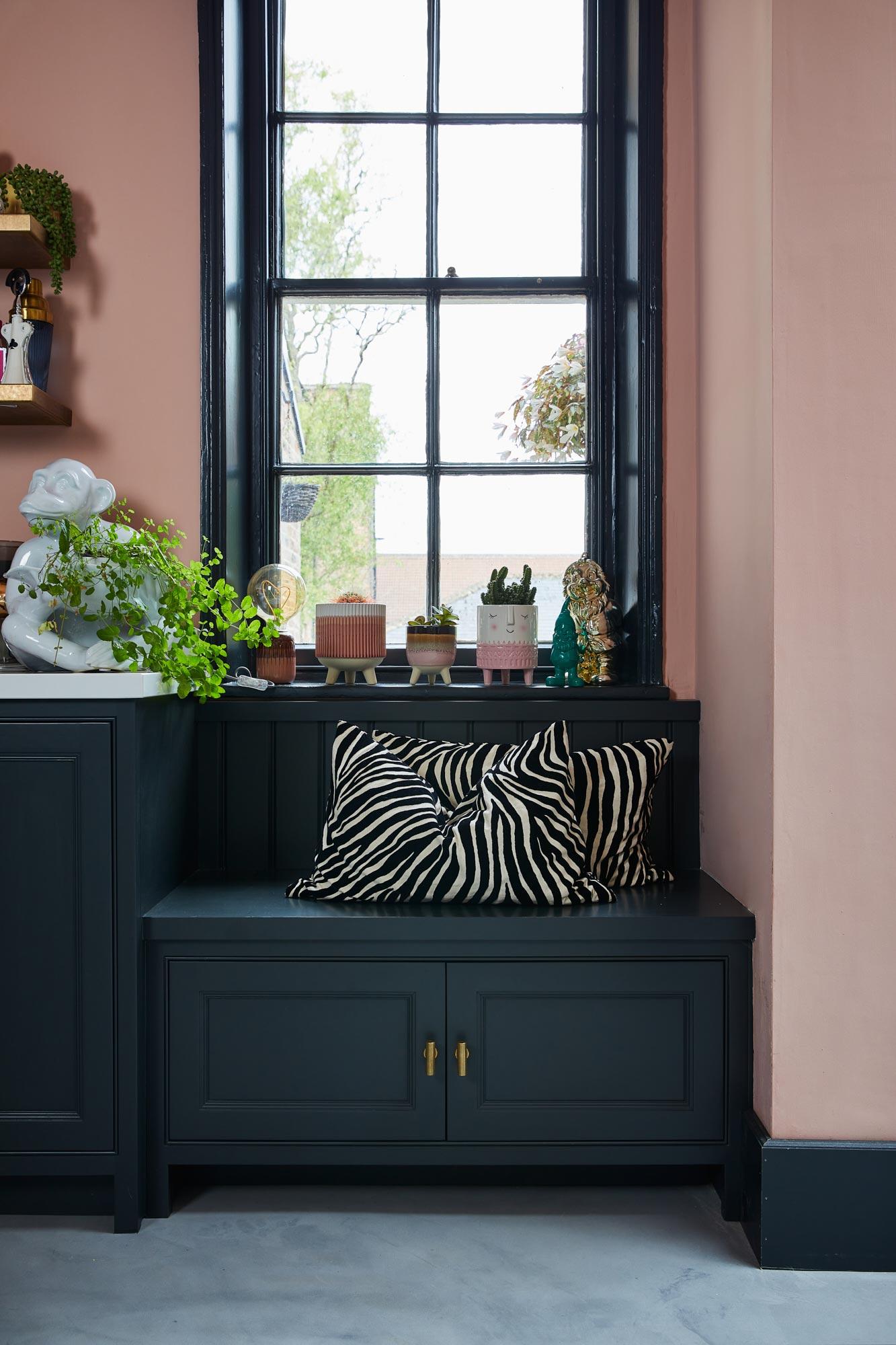 Shaker window seat painted in Little Greene